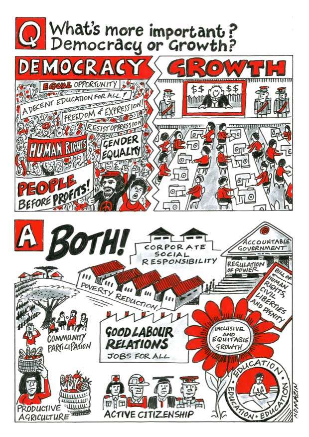 "Democracy or Growth?Ink and paint marker on canvas, 2013 AGN collection ""Democracy or Growth?"" a poster produced during a session of the African Grantmakers' Network (AGN) Annual Conference, Johannesburg 2012. The poster was produced during the session in pencil and markers and subsequently neatened up for permanent display/publication."