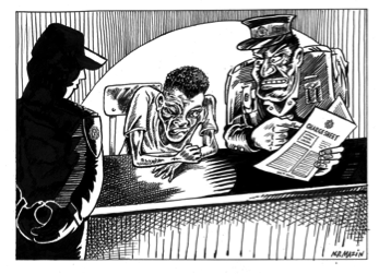 N.D. Mazin, illustration about legislation relating to juveniles, from Street Law, 3rd edition. Ink on paper, 2015.